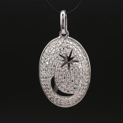 Eva LaRue Sterling Pavé Diamond Moon and Star Pendant