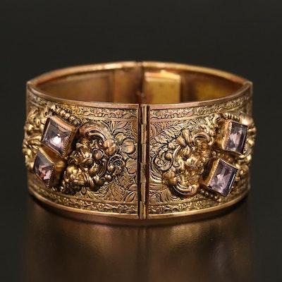 1930s Floral Rhinestone and Enamel Panel Bracelet