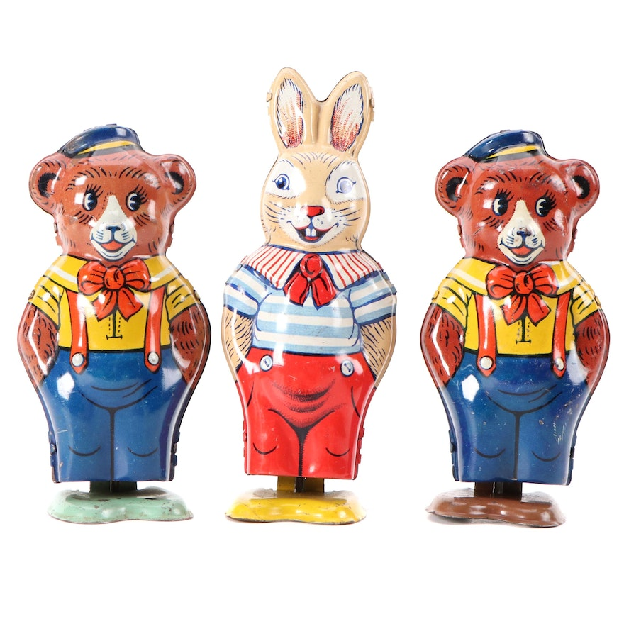 J. Chein & Co. Wind-Up Tin Lithograph Bears and Rabbit