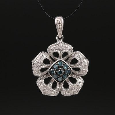 Sterling Diamond Flower Pendant