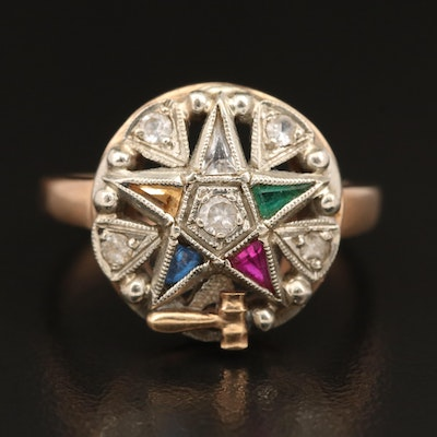 Masonic Order of the Eastern Star 10K Spinel and Sapphire Ring