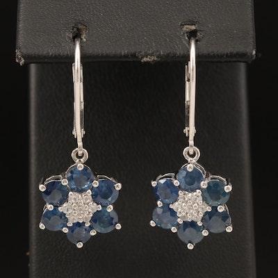 Sterling Sapphire and Zircon Earrings