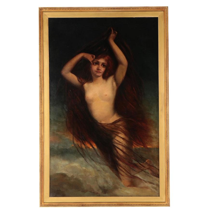 Large-Scale Mythological Oil Painting of Female Nude, Circa 1885