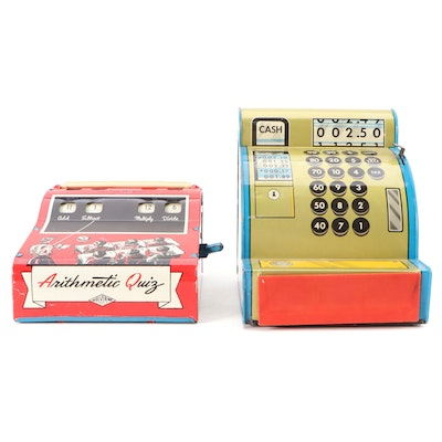 Wolverine Tin Litho Arithmetic Quiz with Marx Toy Cash Register, Mid-20th C.