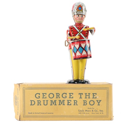"""Louis Marx & Co. """"George the Drummer Boy"""" Tin Litho Wind-Up Toy, Mid-20th C."""
