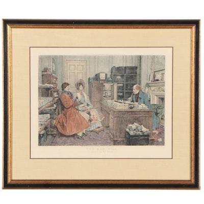 """James Dobie Etching After Dendy Sadler """"The New Will,"""" 1896"""