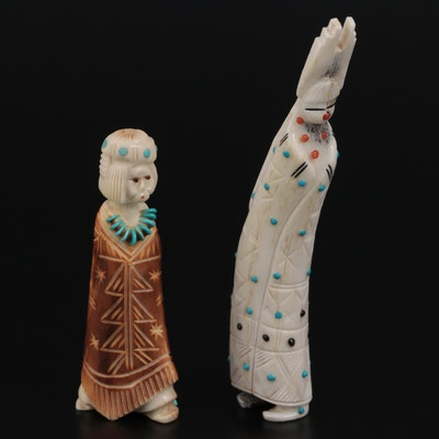 Zuni Carved Bone, Turquoise and Coral Bow Priest and Maiden Fetishes