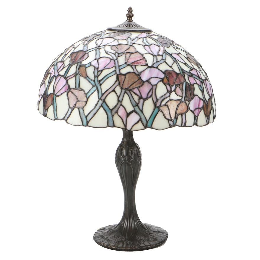 Art Nouveau Style Leaded Slag Glass Table Lamp, Mid-20th Century