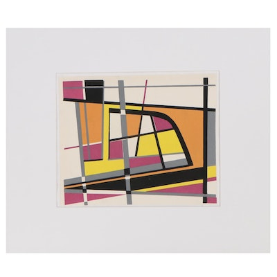 Abstract Pochoir After Jean Leppien, Late 20th Century