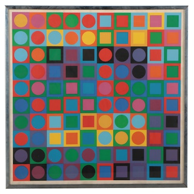 """Serigraph After Victor Vasarely Serigraph """"Planetary Folklore Participants"""""""