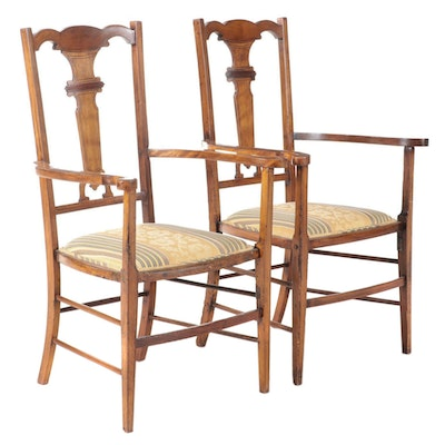 Pair of Wood and Upholstered Arm Chairs
