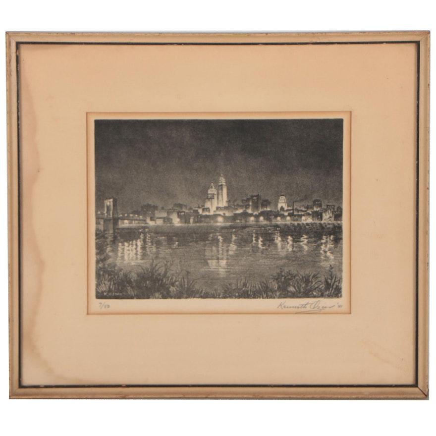 "Kenneth Ozner Lithograph ""Reflections, Cincinnati Skyline,"" 1941"