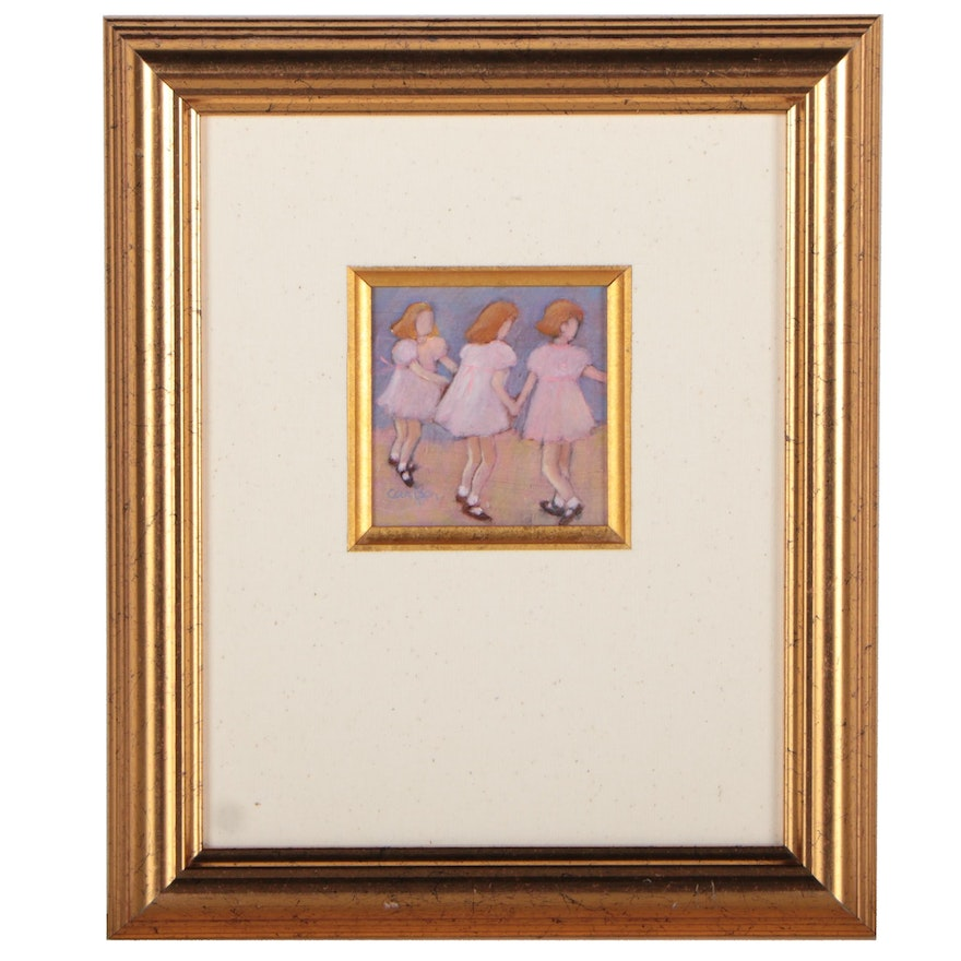 Sallie Carlson Miniature Acrylic Painting of Young Girls Dancing, 21st Century
