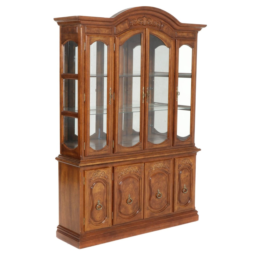 French Provincial Style Wood-Veneered China Cabinet