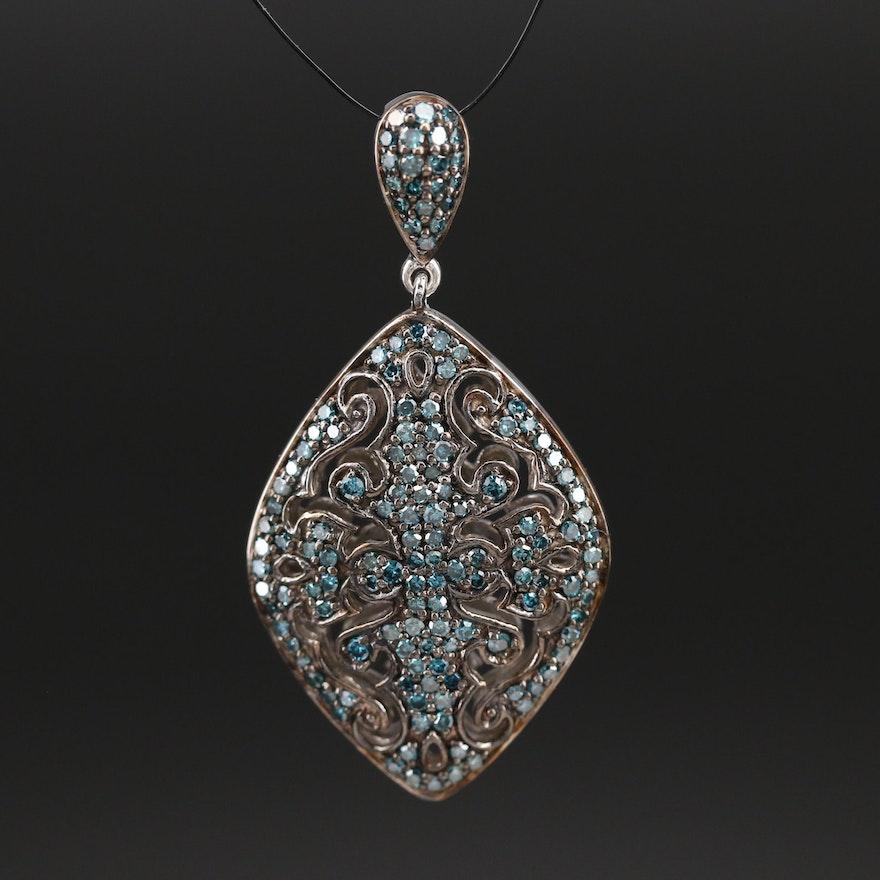 Sterling Diamond Openwork Navette Pendant