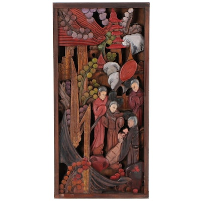 East Asian Narrative Polychrome Wood Carving