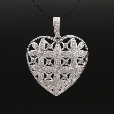 Sterling Diamond Openwork Heart Pendant