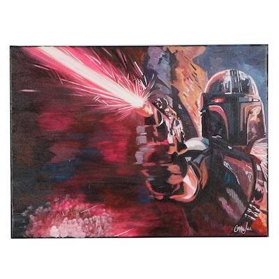 Chris Cargill Mixed Media Painting of Mandalorian