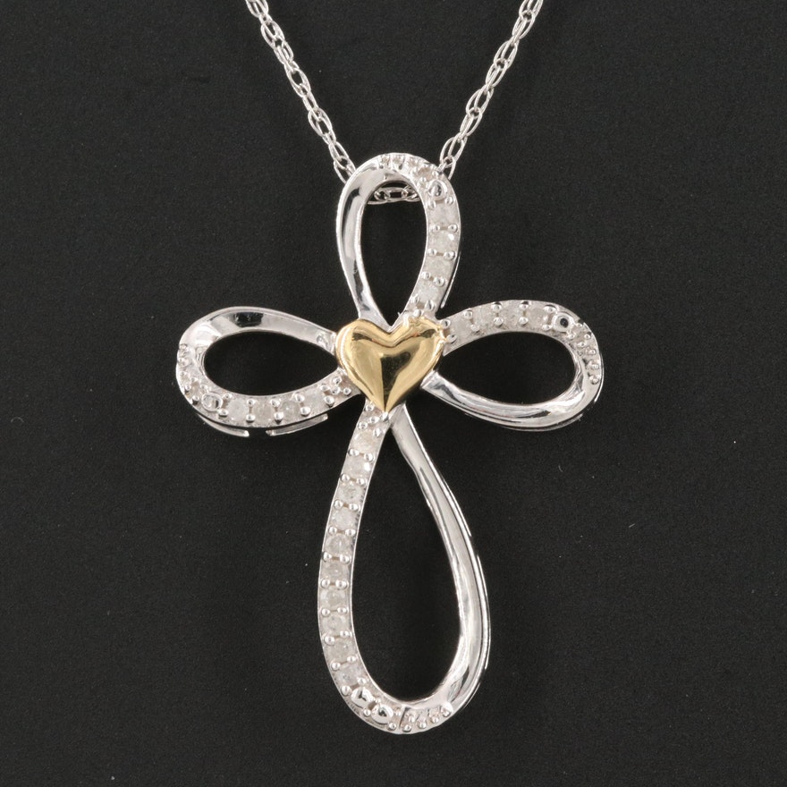 Sterling Diamond Heart Cross Pendant