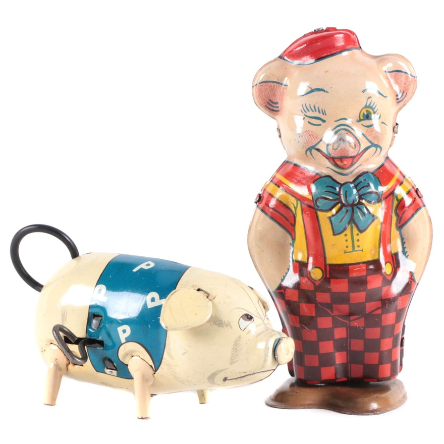 J. Chein & Co and Haji Tin Litho Wind-Up Pig Toys, Mid-20th Century