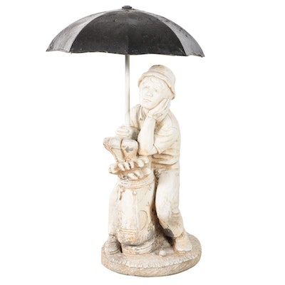 Painted Cast Concrete Garden Fountain of Golfer with Umbrella