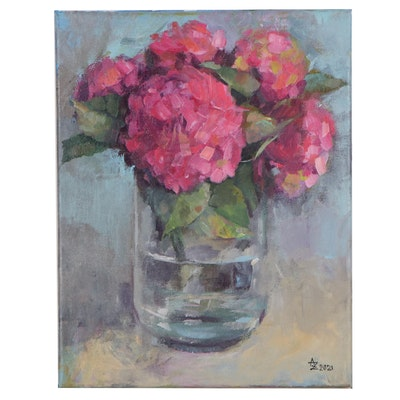 "Alexandra Zecevic Acrylic Painting ""Pink Hydrangea Etude,"" 2021"