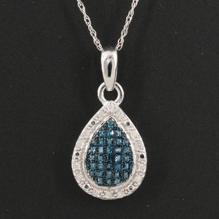 Sterling Diamond Teardrop Pendant Necklace