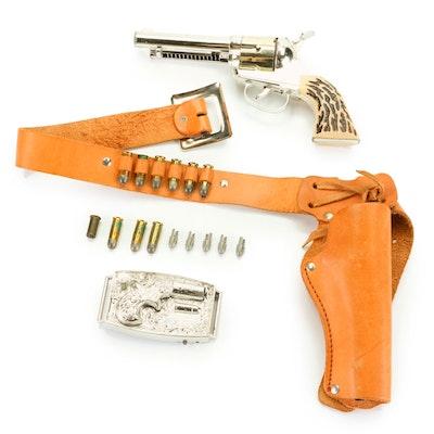 Mattel Shootin' Shell Fanner Plainsman Holster Set Including Toy Revolver, 1958