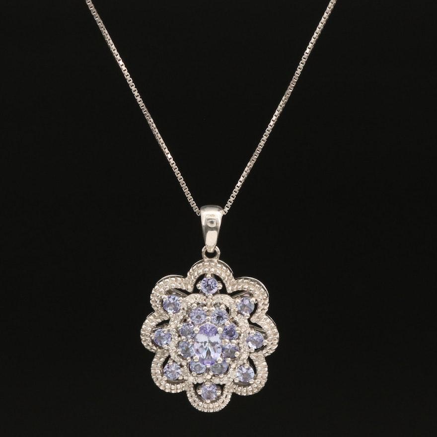 Italian Tanzanite and Diamond Scalloped Pendant Necklace