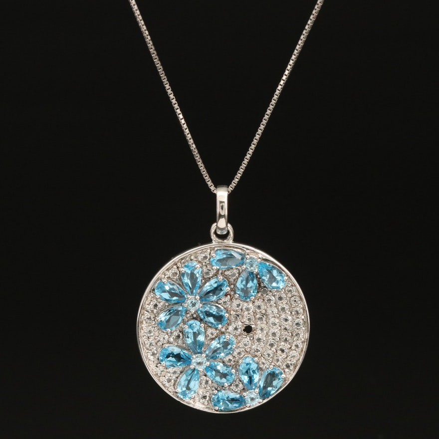 Sterling Swiss Blue and White Topaz Floral Necklace