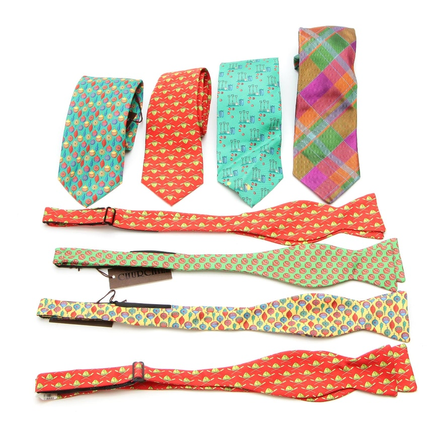 Peter Blair and Altea Patterned Silk Twill Ties and Bow Ties