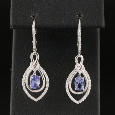 Sterling Silver Cubic Zirconia Earrings with Articulated Tanzanite Drop