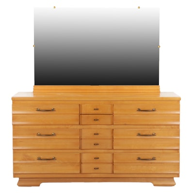 Kling Furniture Mid Century Modern Maple Dresser and Mirror