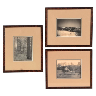 Raymond Cilley Landscape Hand-Tinted Platinum Photographs, Early 20th Century