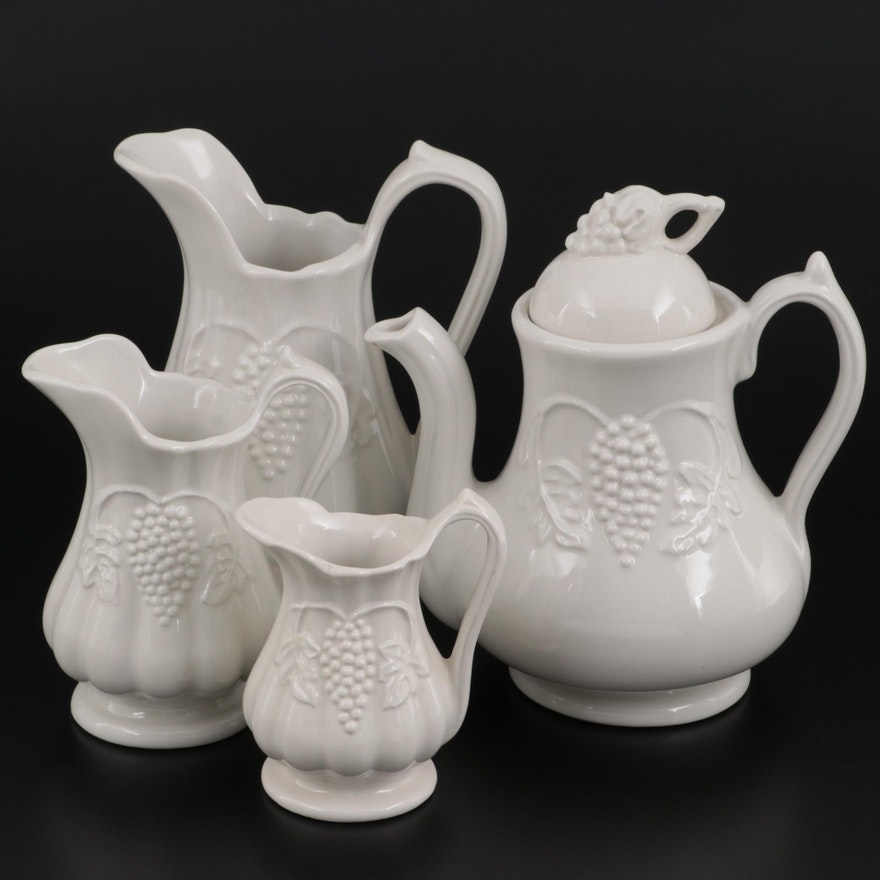 """Red Cliff """"Grape"""" Ironstone Teapot, Creamer and Pitchers"""