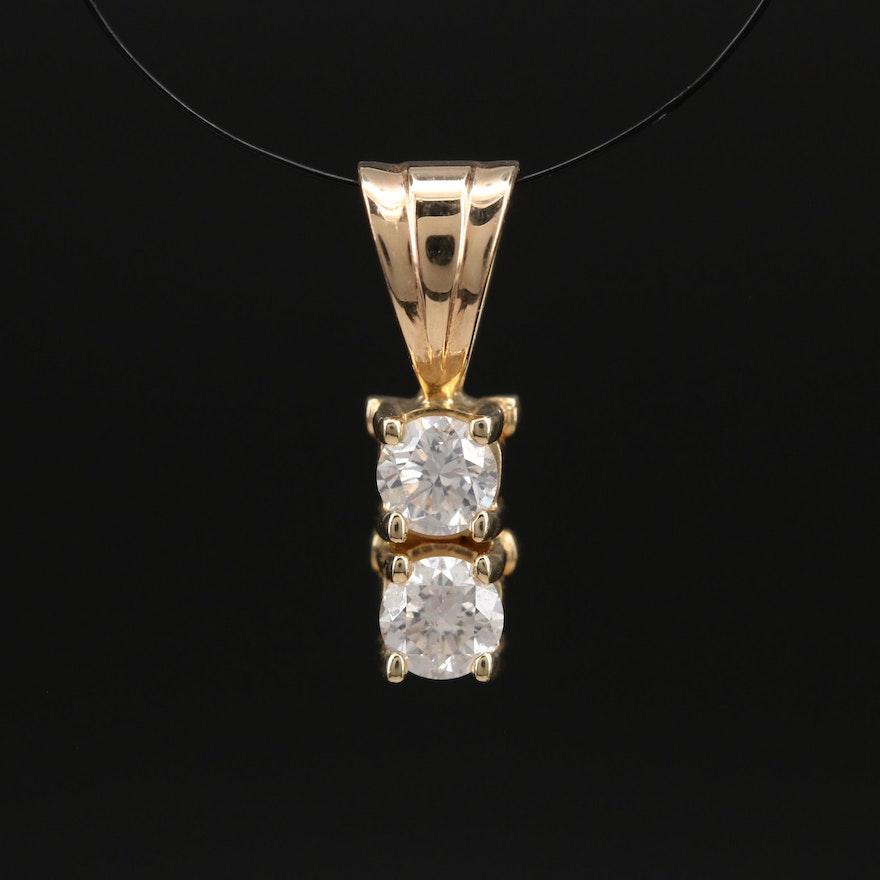 14K 0.34 CTW Diamond Drop Pendant