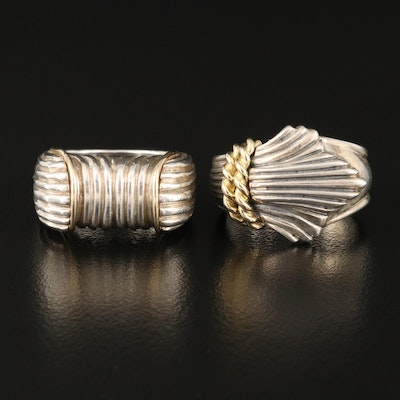 Sterling Fluted Rings with 18K Accent