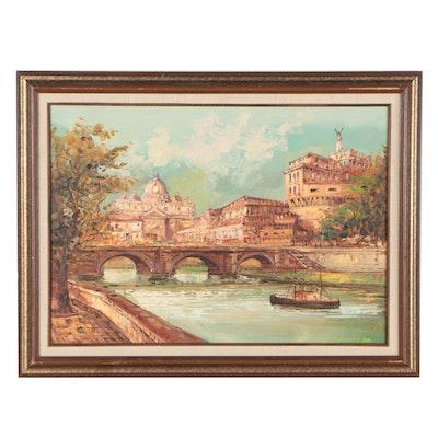 Roman Cityscape Oil Painting, 1980