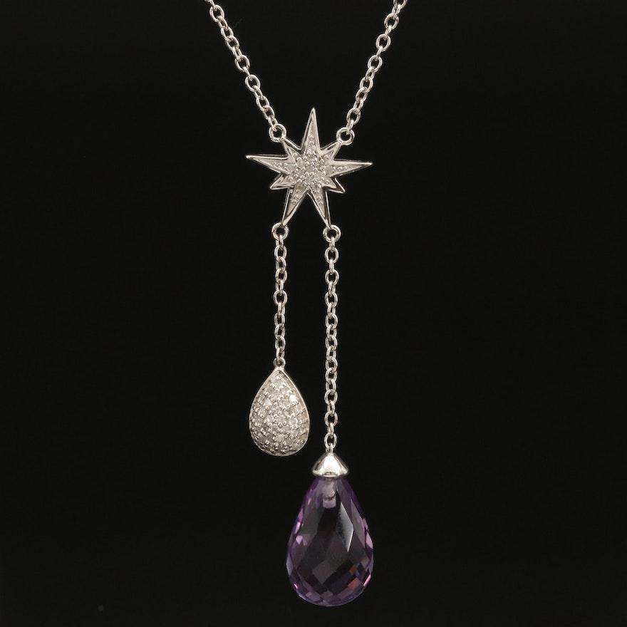 Eva LaRue Sterling Starburst Négligée Necklace with Amethyst and Diamonds
