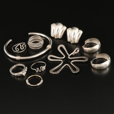 Sterling Jewelry with Vintage Gimmel Ring and Fluted Earrings