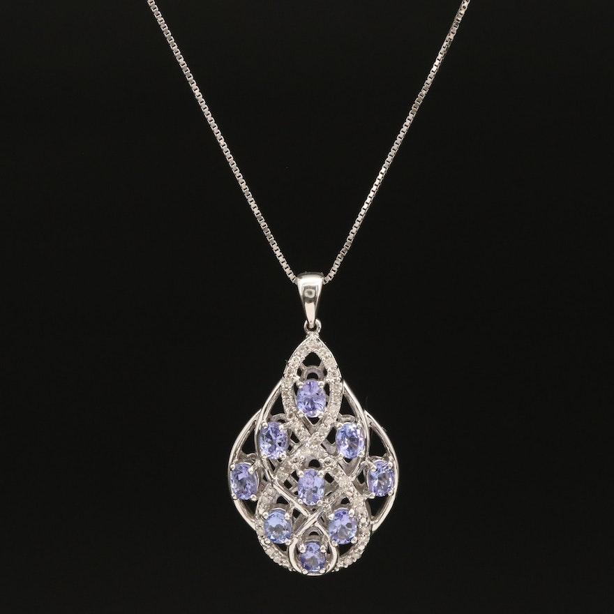 Sterling Tanzanite and Diamond Openwork Pendant Necklace