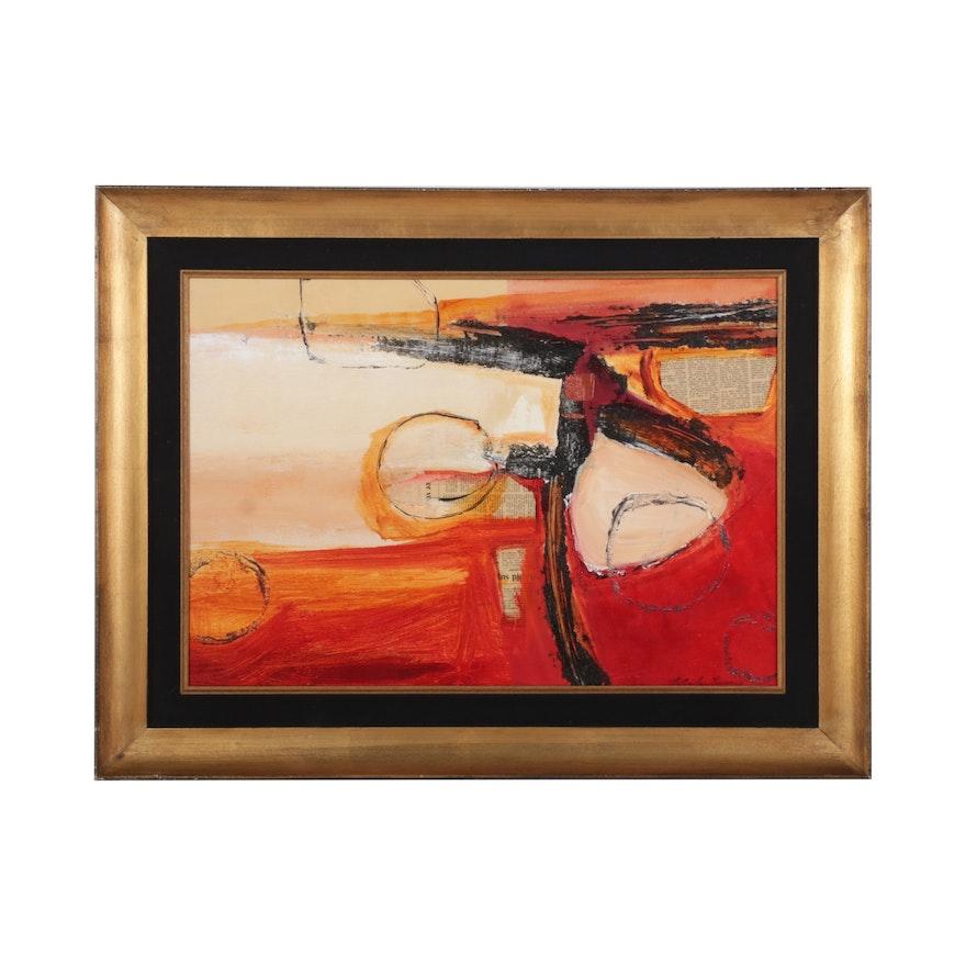 Natasha Barnes Abstract Mixed Media Painting, Circa 2002