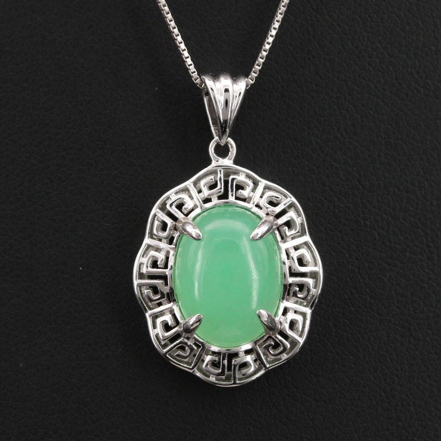 Sterling Quartz Greek Key Pendant Necklace