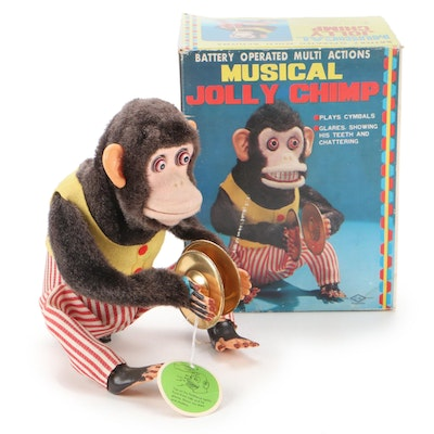 Musical Jolly Chimp Mechanical Toy, Late 20th Century