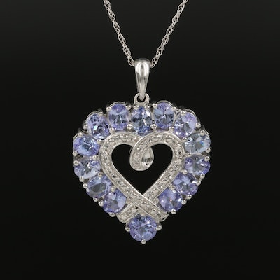 Sterling Tanzanite and Topaz Heart Pendant Necklace