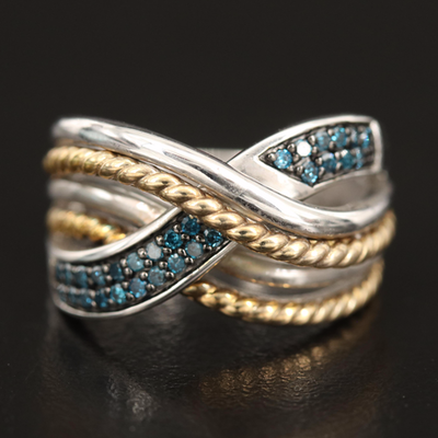 Sterling Diamond Crossover Ring with Braided Accents