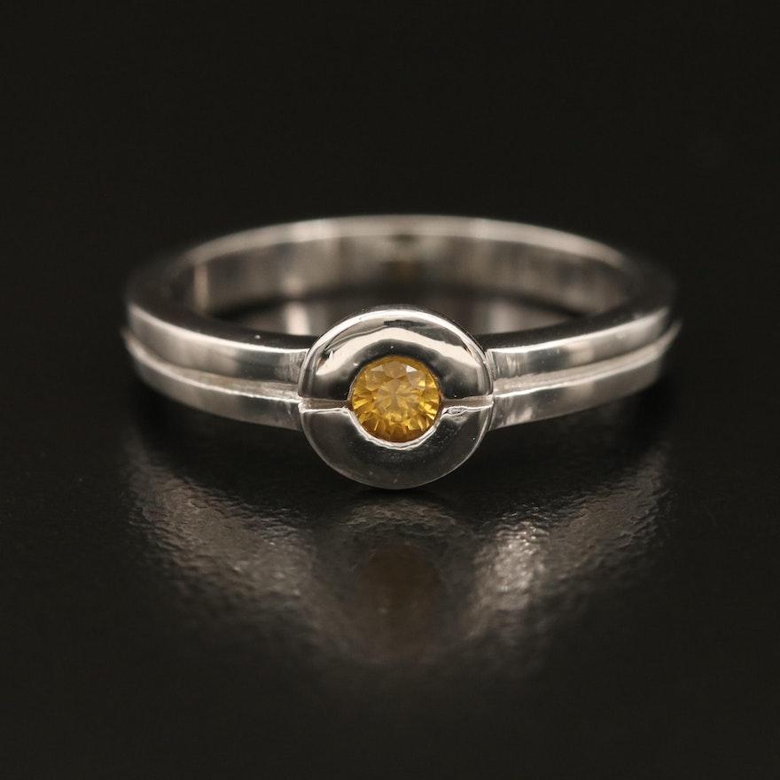 Sterling Sapphire Bezel Ring