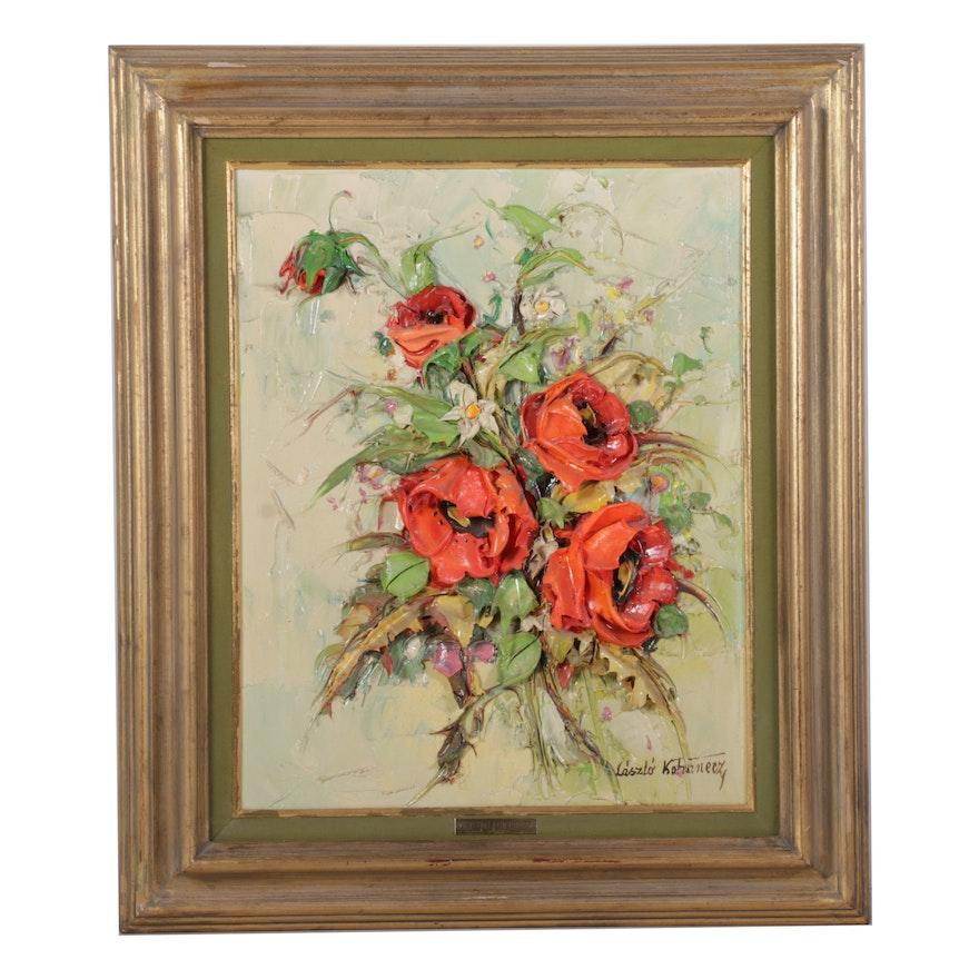 László Kohanecz 3D Mixed Media Painting of Poppies, Late 20th Century