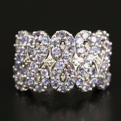Sterling Tanzanite and Diamond Infinity Ring