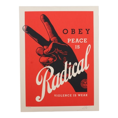 """Shepard Fairey Serigraph """"Obey Radical Peace (Red),"""" 2021"""